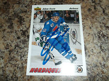 1991-92 UPPER DECK # 529 ADAM FOOTE AUTOGRAPHED CARD