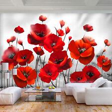 593V VLIES Fototapete-MOHNBLUMEN- -Blumen Feld Orchideen Blüten Pflanzen Bäumen