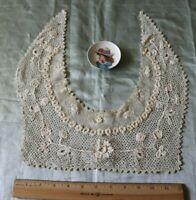 "Pretty Antique Irish Crochet Collar~Raised Work~Bridal,Dolls~ L-15.5"" X W-12"""