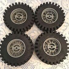 "Vintage Lego Technic 24 x 43  3"" Wheels Light Gray Rims & Black Tires #3739/3740"