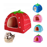Strawberry Style Pets Mat Dog Cat House Bed Soft Cotton Cute Nest Yurt S M L US