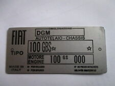 S39 Nameplate Fiat Shield Tipo 100 Gbs 850 Sport Spider