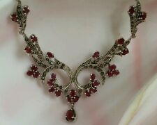 NEW STERLING SILVER 10 CT GENUINE NATURAL RED RUBY MARCASITE COCKTAIL NECKLACE