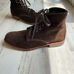 Wolverine 1000 Mile Size 10 D Suede Leather Boots Brown Made in USA