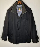SCHOTT NYC Black Full Zip Buttons Wool Heavy Coat Jacket Mens XXL Made In Canada