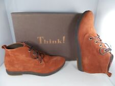 Think! Umadum Rust/Velvet Goat Suede Ankle Boots Women's Size 8 US New In Box