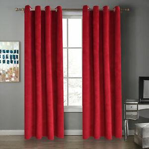 Velvet Thermal Blackout Curtain Windows Drape Panel for Living Room Eyelets Home