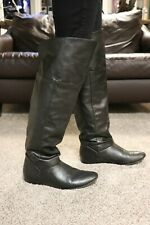 Over The Knee Black Pull on Boots Size 10 Low Heel