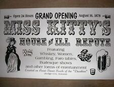 "(004) OLD WEST SALOON MISS KITTY'S BROTHEL NOVELTY POSTER 18""X30"""
