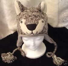 Wolf Hat knit Fleece Lined halloween costume Adult silver gray grey men women