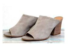*New* Franco Sarto Feline Gray Beige Leather High Heel Open Toe Mule Shoes 8
