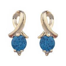 14Kt Yellow Gold Plated London Blue Topaz & Diamond Round Design Stud Earrings