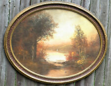 Antique Oval Frame Pastel Landscape Painting