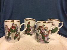 "Fitz & Floyd Mcmlxxxii ""Deck The Halls"" Christmas Scene Cup/Mug Set Of 4"