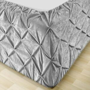 Pintuck Valance Sheet Velvet Divan Bed Base Wrap Cover Single Double Super King