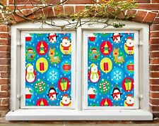 3D Snowman N598 Christmas Window Film Print Sticker Cling Stained Glass Xmas Fay