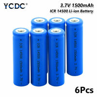 ICR 14500 Battery 3.7V 1500mAh Li-ion Rechargeable Cell For Camera Torch 6Pcs 2
