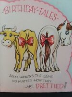 1940s Vtg BIRTHDAY Tales Old Dobbin HORSE & Elsie The COW Tails GREETING CARD