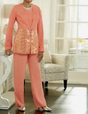 Ashro Peach Lacy Pant Suit Jacket 3-Piece NEW NWT Church Mother of Bride PLUS