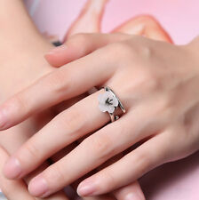 Silver Sakura Cherry Blossom Shell Flower Branch Opening Wrap Ring