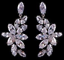 Girlfriend Mum Sister Boxed Xmas Gift Present CZ Silver Crystal Drop Earrings UK