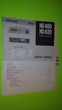 Nikko nd-600 620 service manual original repair book stereo tape deck player