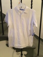 Nwt Just Friends Boys White Cotton Pique Uniform/ Tennis/Golf Polo Shirt Size 7