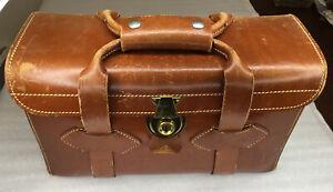 Vintage Leather Locking Hard Camera Bag Case, Made in USA ,no key, 1940-50s