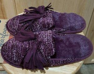 Dearfoams Aubergine Purple  Indoor/Outdoor Slippers w/Tassels, L (9-10)