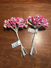 Vintage Miniature Dollhouse Millinery Bouquet of PINK Flowers Doll House 2 Pcs