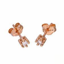 Real 375 9ct Rose Gold & Genuine Diamond Stud Earrings Diamonds Butterfly