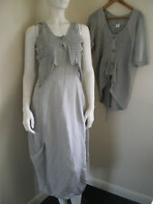 CREA CONCEPT BNWOT 2 Piece Dress 3/4 Sleeve Jacket Grey Linen Blend Size 38 10