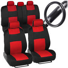 Sporty Red Car Seat Covers W/ Black Carbon Fiber Grip Steering Wheel Cover