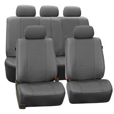 Gray Deluxe Leatherette 2 Row Car Auto SUV Seat Covers Air Bag Safe Split Bench