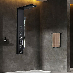 Black Stainless Steel Shower Panel Tower Rain Waterfall Massage Jet Body System