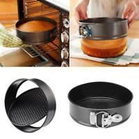 1x Round Non-stick Cake Pan Spring Form Loose Tray Base Pan Baking Black K8U3