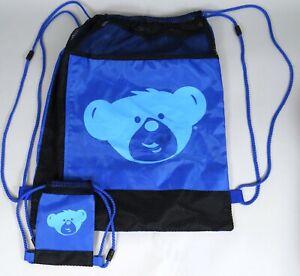 Build a Bear Backpack Knapsack Lot Drawstring Mini for Bear Blue Nylon 2011