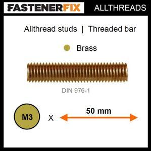 M3 x 50 mm allthread brass studs, threaded bar to DIN 976-1 (100 pack)