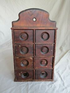 """Primitive / Antique 8 Drawer """"Well USED"""" Spice Cabinet Fantastic Worn Patina"""