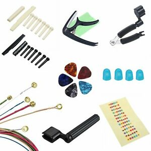Guitar Capo Strings Cutter Pegs Saddles Nuts Winder Finger Protector Sticker Set