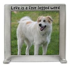 Love Is A Four Legged Word Picture Frame Pets Dog Cat Pewter New Stands Up