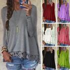 S-5XL Plus Zanzea Ladies Crew Neck Long Sleeve Blouse Casual Cotton Crochet Tops