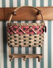 Karen Traub Originals 2002 handmade hanging wall basket natural red