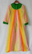 Vtg Fifth Avenue Robe by M.W Multi-Color Maxi 3/4 Zip Pockets Quilted Size S/M