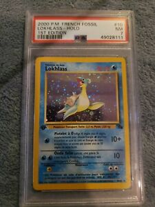 1999 Pokemon Game Fossil Lapras/Lokhlass Holo 1st Edition PSA 7 NM-MT #10 French