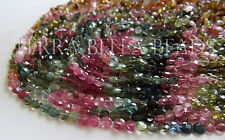 "13"" strand WATERMELON TOURMALINE faceted gem stone coin beads 3.5mm pink green"