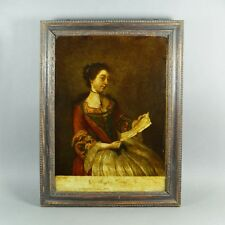 Antique 18th Century Reverse Print Painted on Glass Georgian Lady After Liotard