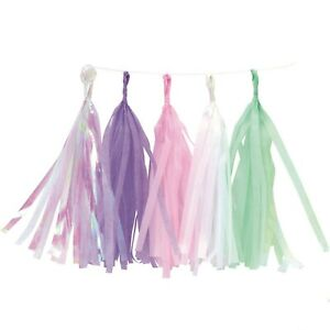 Unicorn Party Tassel Garland Decoration - Iridescent Purple Pink White Teal