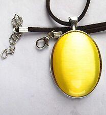 yellow oval Cat Eye Stone set Tibetan silver pendant 18inch 50x33x8mm  BD231