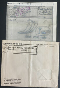 1943 New York Usa Airgraph V Mail Cover To Army Posta Office 27